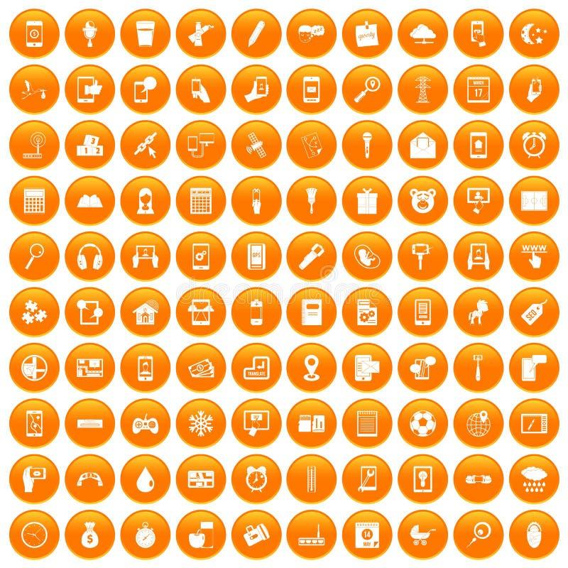 100 mobile app icons set orange. 100 mobile app icons set in orange circle isolated on white vector illustration stock illustration