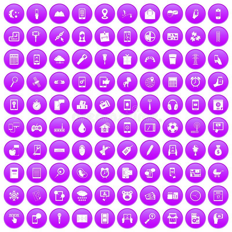 100 mobile app icons set purple. 100 mobile app icons set in purple circle isolated on white vector illustration vector illustration