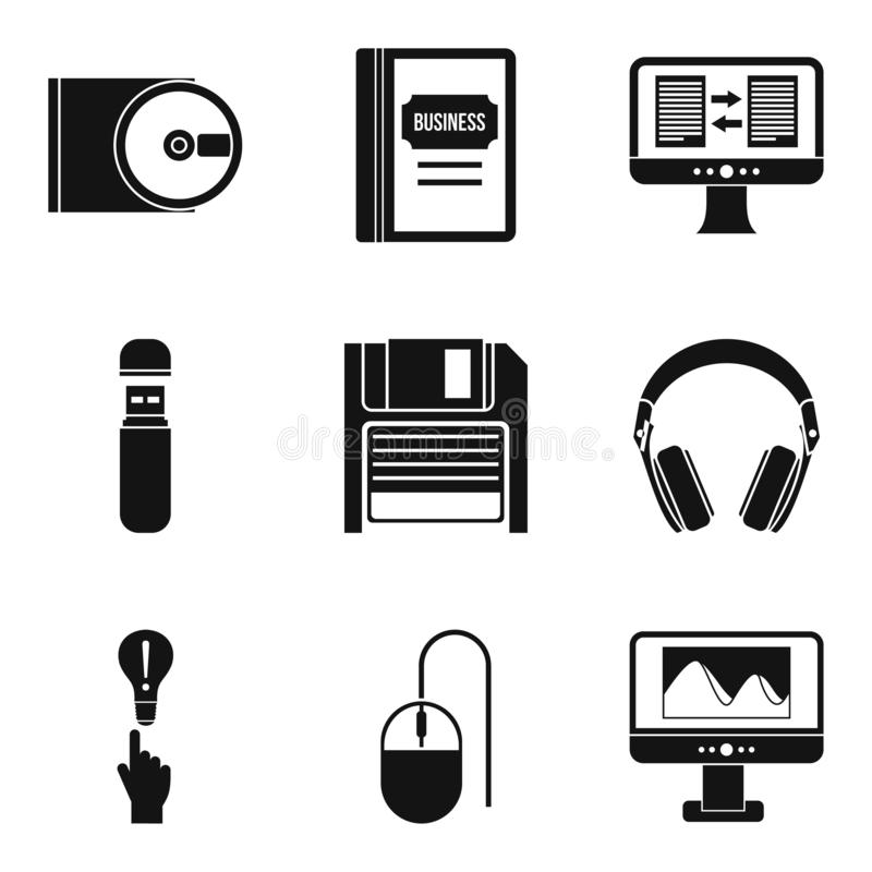 Mobile app icons set, simple style. Mobile app icons set. Simple set of 9 mobile app icons for web isolated on white background royalty free illustration