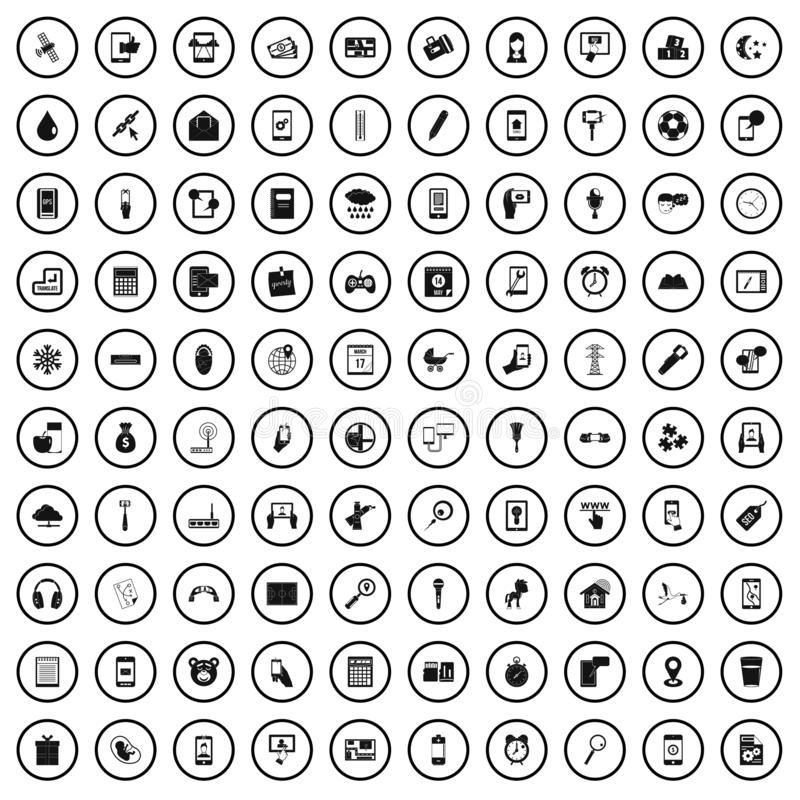 100 mobile app icons set, simple style. 100 mobile app icons set in simple style for any design vector illustration royalty free illustration