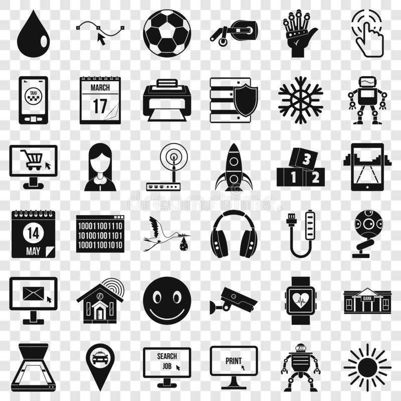 Mobile app icons set, simple style. Mobile app icons set. Simple style of 36 mobile app vector icons for web for any design royalty free illustration