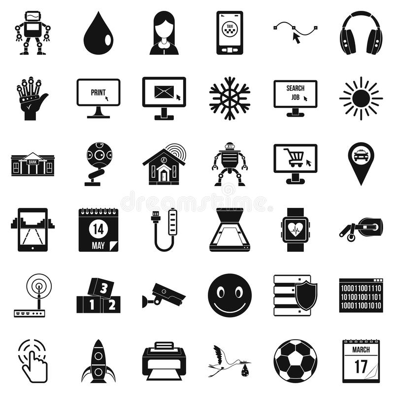 Mobile app icons set, simple style. Mobile app icons set. Simple style of 36 mobile app vector icons for web isolated on white background vector illustration