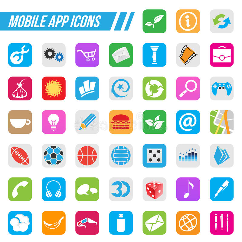 Mobile App Icons. Vector Illustration Mobile App Icons, on a white background royalty free illustration