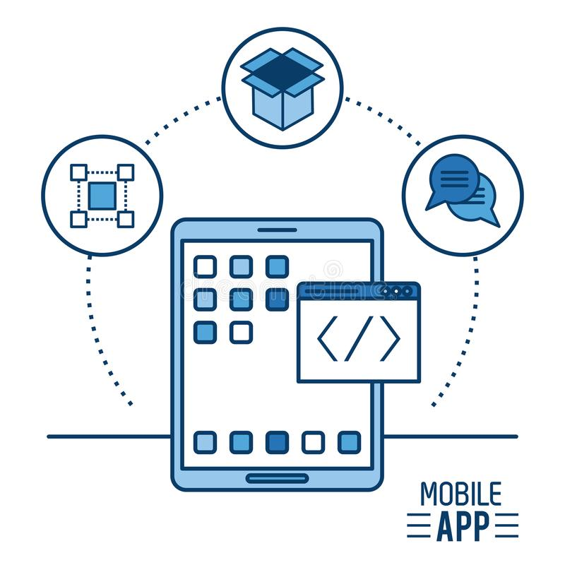 Mobile app infographic royalty free illustration