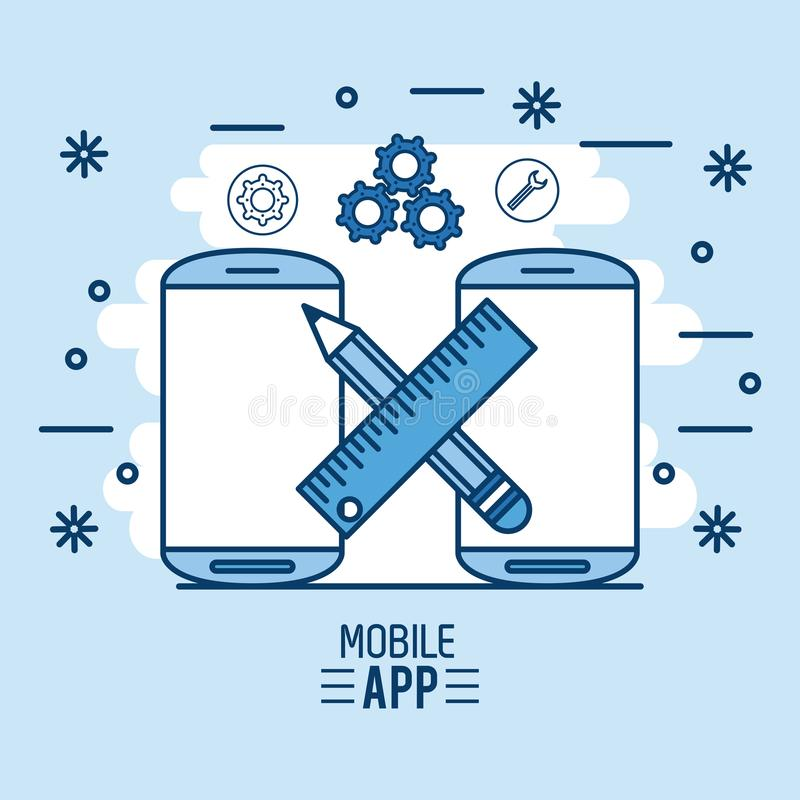 Mobile app infographic vector illustration