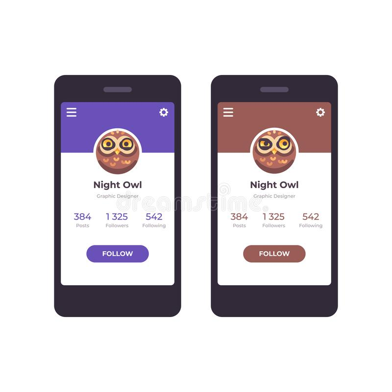 Mobile app interface concept. User profile with an owl avatar vector illustration