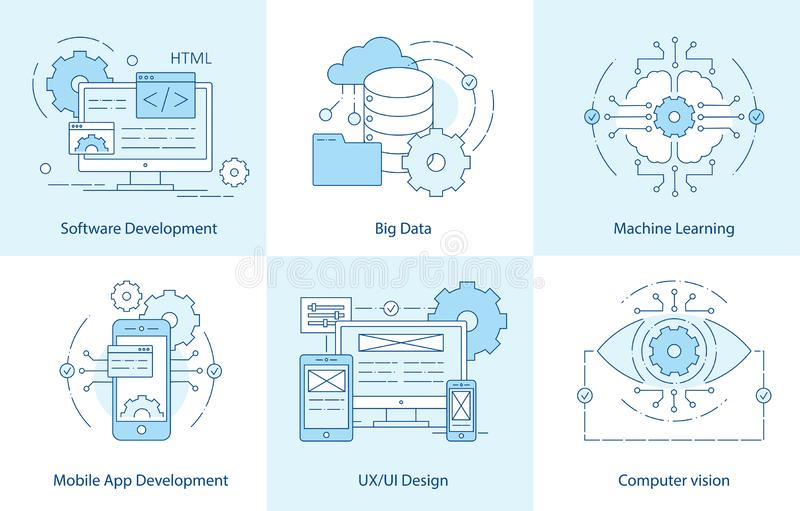 Mobile App Line icons. Software Development icon for web design. Big Data and cloud technology concept. Computer vision, Machine royalty free illustration