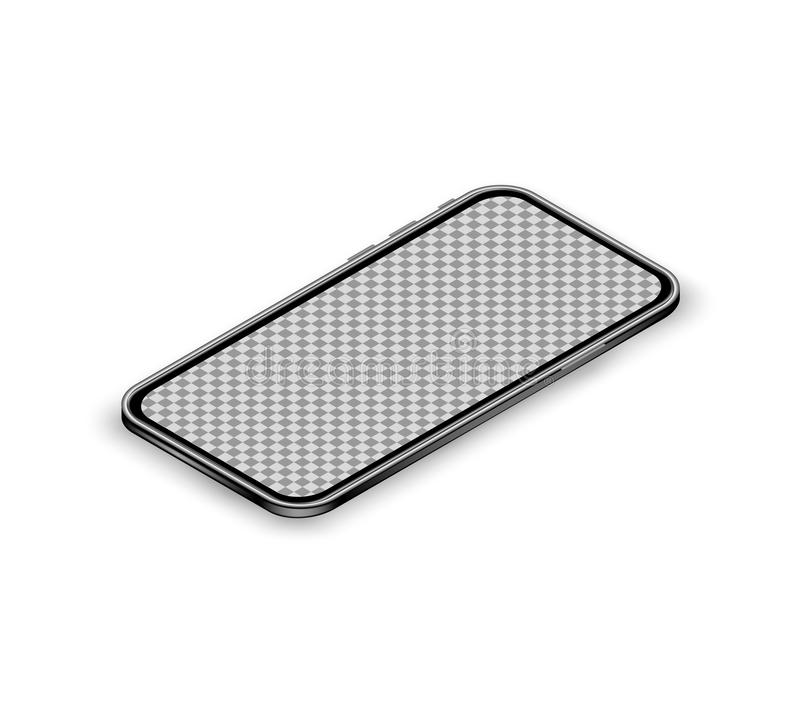 Mobile app mockup concept with isometric black smartphone and blank screen isolated on white background. Perspective view. vector illustration