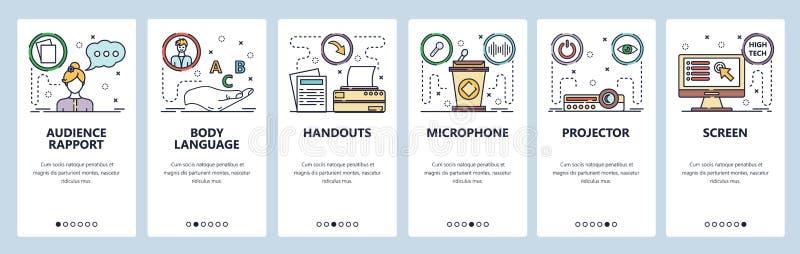 Mobile App-Onboard-Bildschirme Icons für die öffentliche Wiedergabe und Präsentation, Projektor, Bildschirm, Mikrofon und Tribüne vektor abbildung
