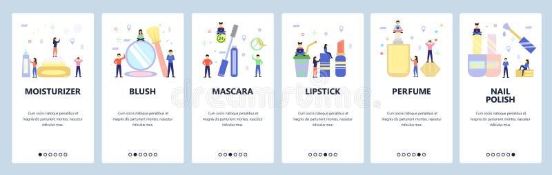 Mobile App-Onboard-Bildschirme Icons für die Make-up- und Schönheitsindustrie, Mascara, Lippenstift, Parfum Menüvektorbanner lizenzfreie abbildung