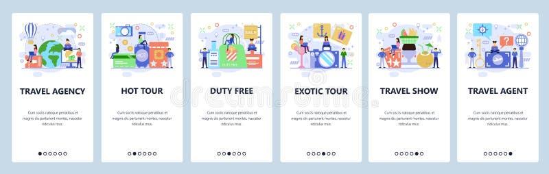 Mobile App-Onboard-Bildschirme. Icons für Reisen und Ferien, Reisebüro, Tickets kaufen und Reisen buchen. Menüvektorbanner stock abbildung