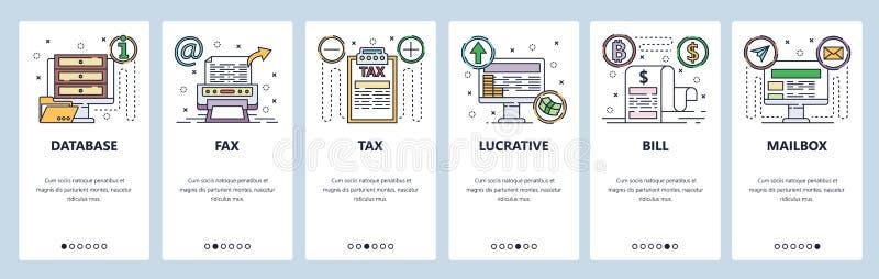 Mobile App-Onboard-Bildschirme Icons für Unternehmen und Computertechnologie, Faxgeräte, Datenbanken, Finanzrechner Vector stock abbildung