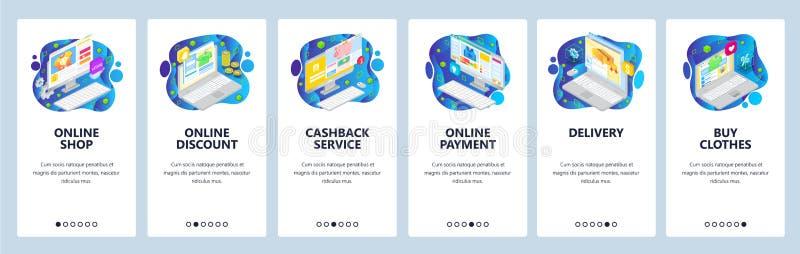 Mobile App-Onboard-Bildschirme Online-Shopping-Icons, Kashback-Service, Lieferung und Zahlung Vector-Banner vektor abbildung