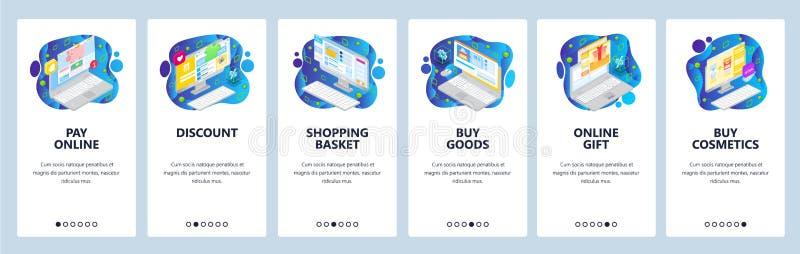 Mobile App-Onboard-Bildschirme Online-Shopping Icons, online kaufen und bezahlen, Rabatt, Geschenke, Warenkorb lizenzfreie abbildung