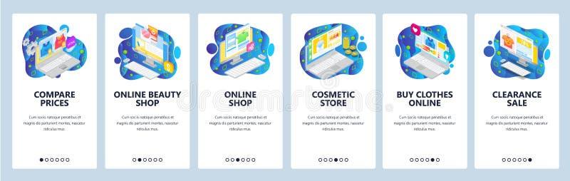 Mobile App-Onboard-Bildschirme Online-Shopping und Business-Icons, Online-Shop, Verkauf, Preis Vector-Banner vektor abbildung