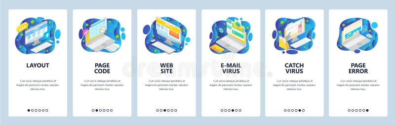Mobile App-Onboard-Bildschirme Website-Wireframe-Icons, E-Mail-Mailware, Virusfehler Menüvektorbanner lizenzfreie abbildung