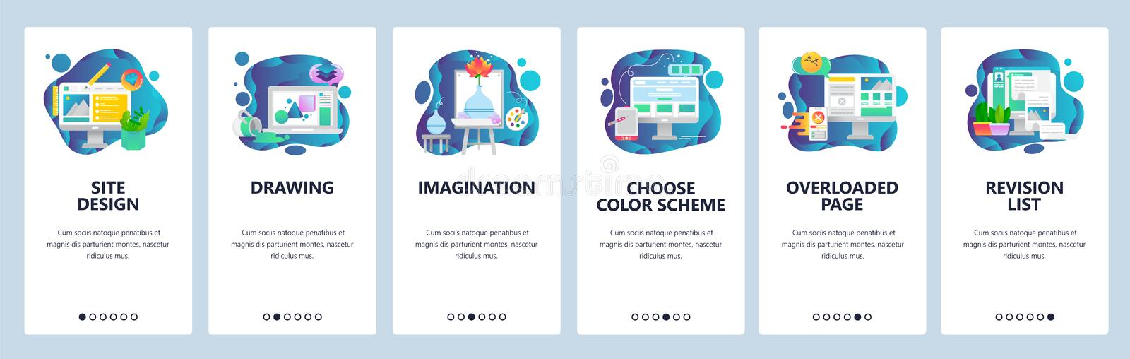 Mobile app onboarding screens. Art, design and creative imagination. Painting. wireframe, news feed. Menu vector banner vector illustration