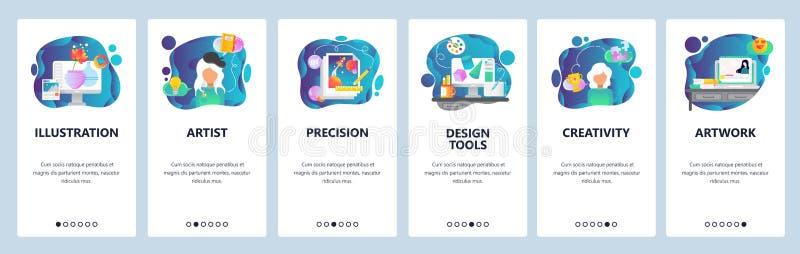 Mobile app onboarding screens. Art work, creativiry and digital illustration. Artist, design tools. Menu vector banner royalty free illustration