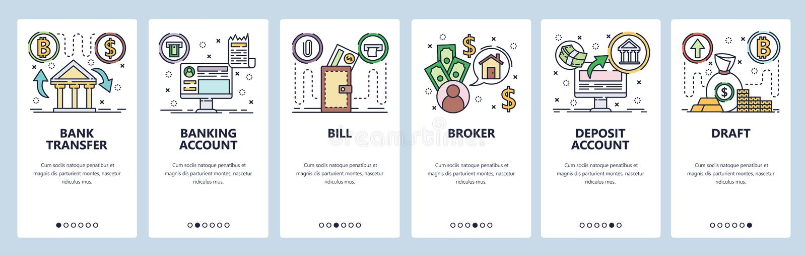 Mobile app onboarding screens. Banking icons, money transfer, banking accounts, broker trading, currency bill. Vector. Mobile app onboarding screens. Banking stock illustration