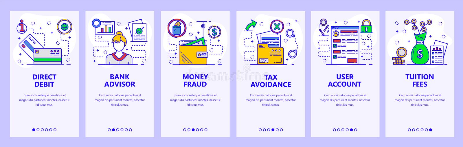 Mobile app onboarding screens. Banking, money fraud, bank advisor and tax avoidance. Menu vector banner template for. Website and mobile development. Web site royalty free illustration
