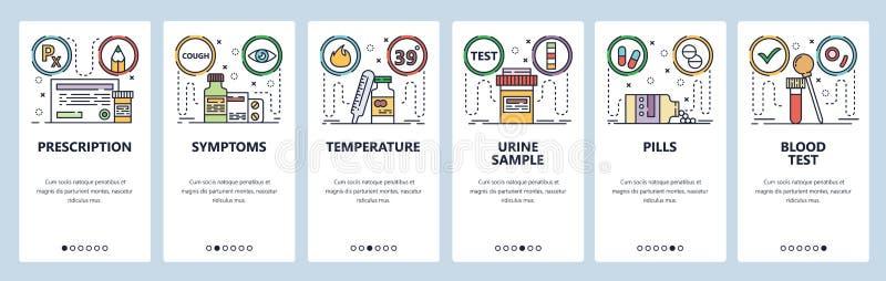 Mobile app onboarding screens. Blood and urine test samples, prescription drugs, pills vial, health. Menu vector banner royalty free illustration
