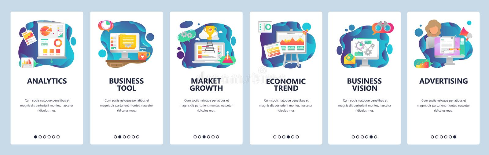 Mobile app onboarding screens. Business analytics, marketing and financial report. Menu vector banner template for. Website and mobile development. Web site vector illustration
