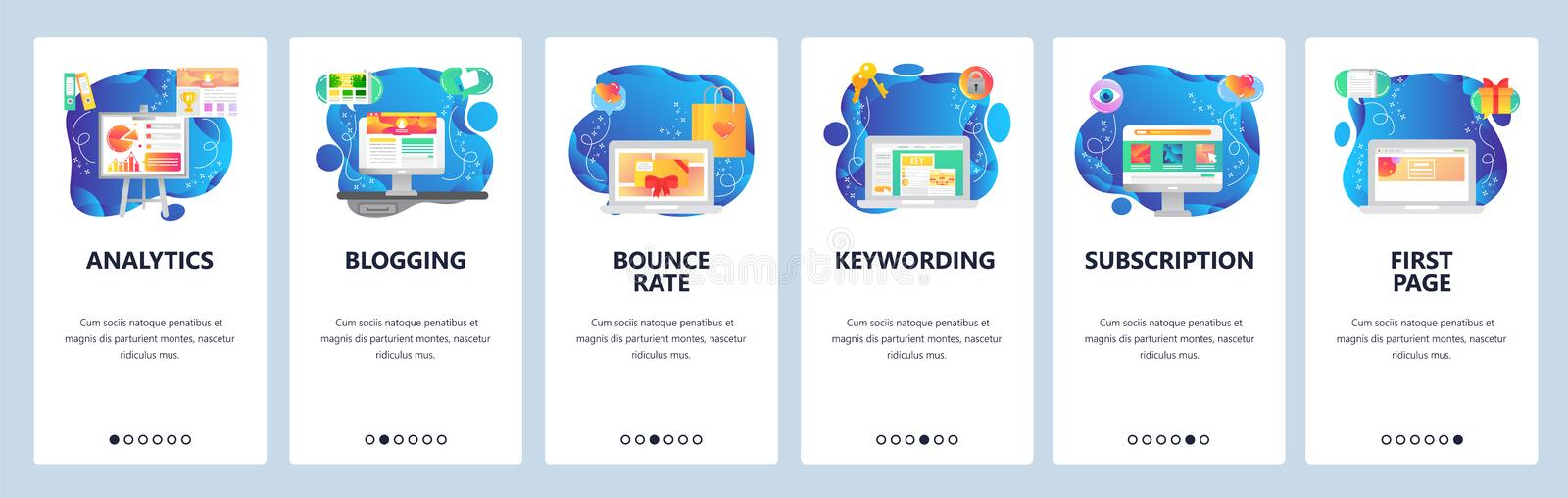 Mobile app onboarding screens. Business and financial analytics, charts, media content, landing page. Menu vector banner. Template for website and mobile royalty free illustration
