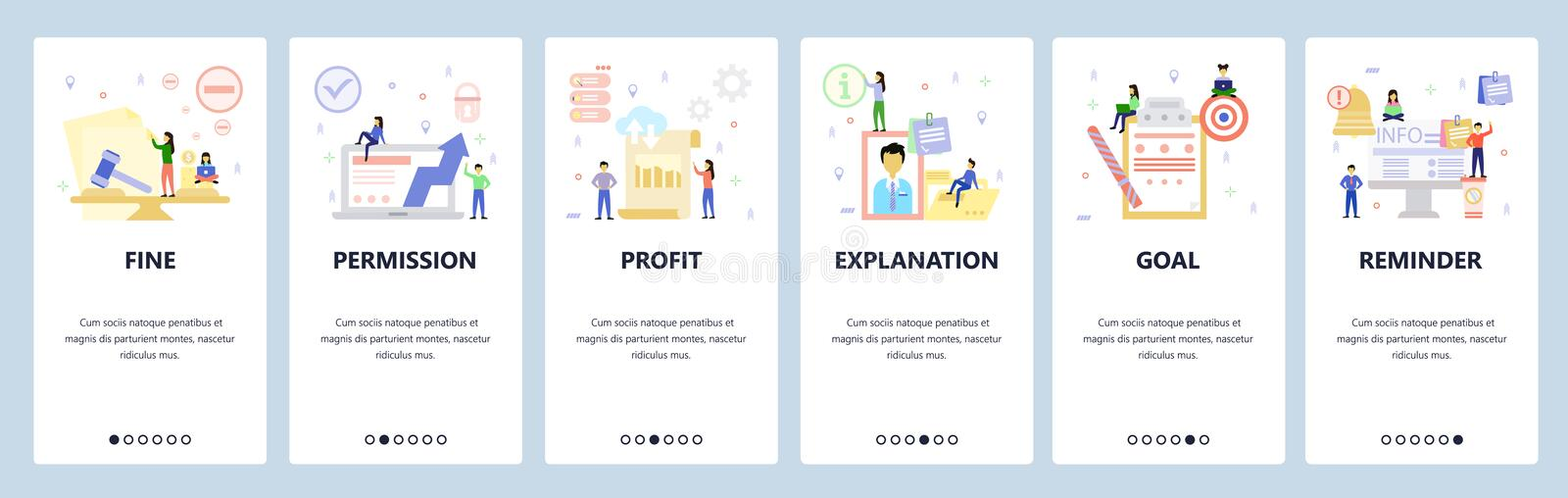 Mobile app onboarding screens Business icons, profit, employee profile, schedule notification Bannière vectorielle de menu illustration de vecteur