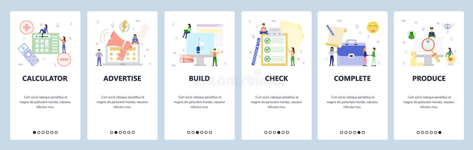 Mobile app onboarding screens. Business icons, promotion, check list, deal. Menu vector banner template for website and. Mobile development. Web site design royalty free illustration