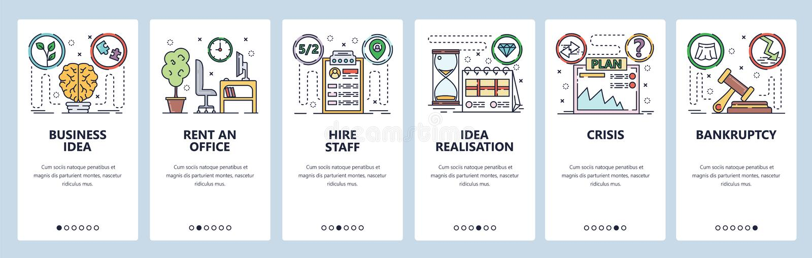 Mobile app onboarding screens. Business idea and plan, crisis and bankruptcy, rent an office. Menu vector banner. Template for website and mobile development stock illustration