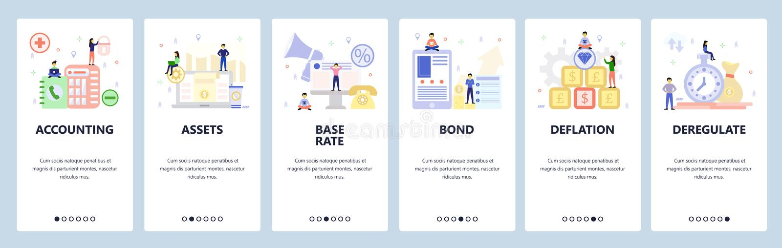 Mobile app onboarding screens. Business, money investment, accounting, assets, bonds, currency exchange. Vector banner. Template for website and mobile stock illustration