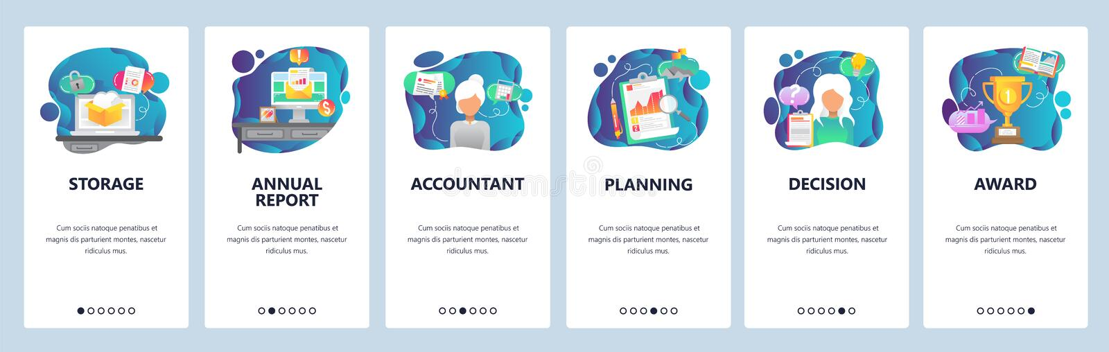 Mobile app onboarding screens. Business plan, financial report and analytics, accountant. Menu vector banner template. For website and mobile development. Web vector illustration