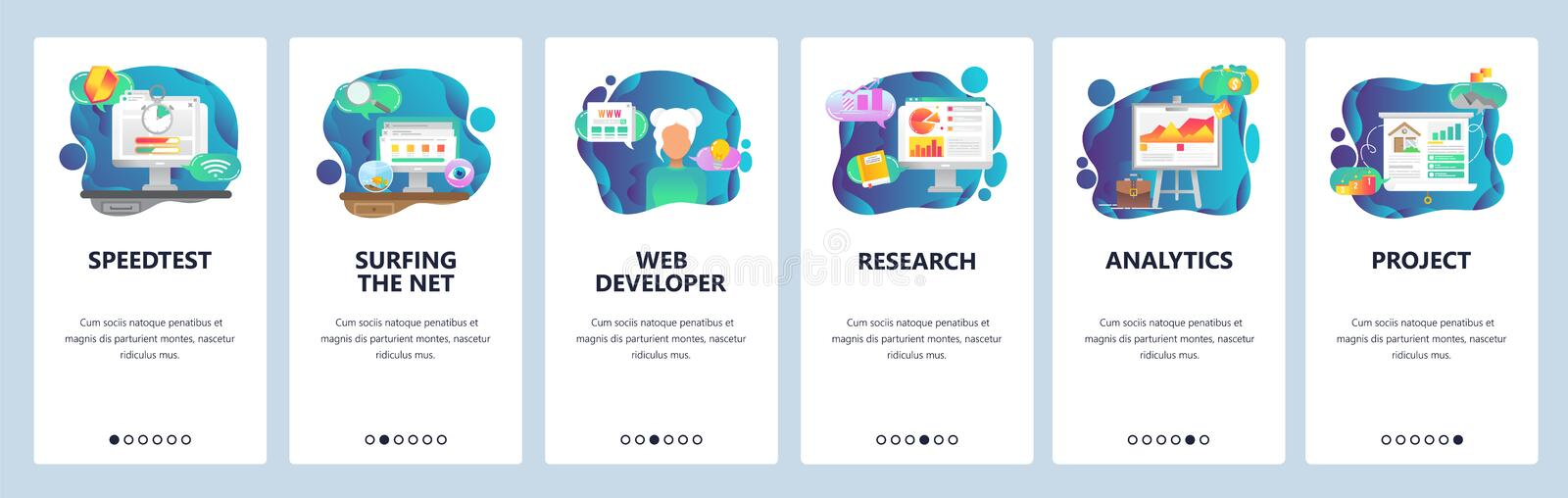 Mobile app onboarding screens. Business plan, financial research and analytics. Menu vector banner template for website. And mobile development. Web site design vector illustration