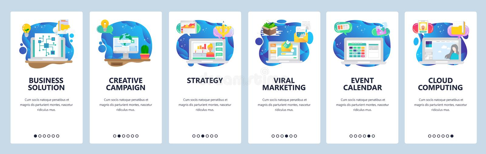 Mobile app onboarding screens. Business plan and strategy, viral marketing, email, event calendar. Menu vector banner. Template for website and mobile royalty free illustration