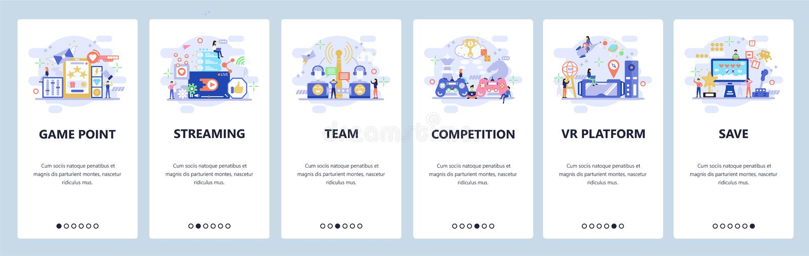 Mobile app onboarding screens. Compute games, cyber sport, VR games, tournament streaming. Menu vector banner template vector illustration