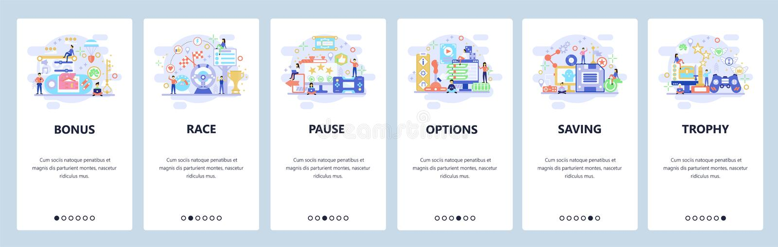 Mobile app onboarding screens. Computer games, cybersport, game options, race. Menu vector banner template for website stock illustration