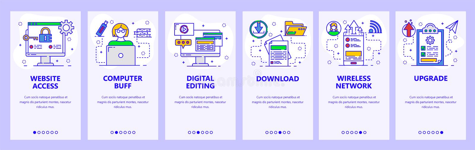 Mobile app onboarding screens. Computer services, secure access, download and upload files, wireless network. Menu. Vector banner template for website and stock illustration