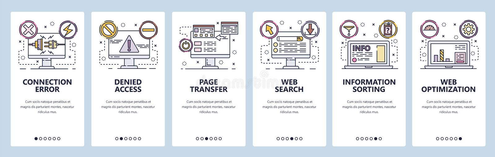 Mobile app onboarding screens. Connection error, access denied, SEO optimization and web development. Menu vector banner royalty free illustration