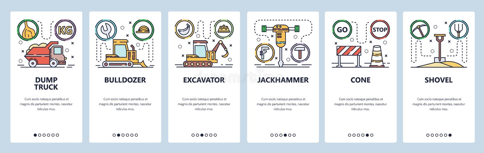 Mobile app onboarding screens. Construction industry icons, heavy machines, dump truck, bulldozer, excavator. Vector. Mobile app onboarding screens. Construction royalty free illustration