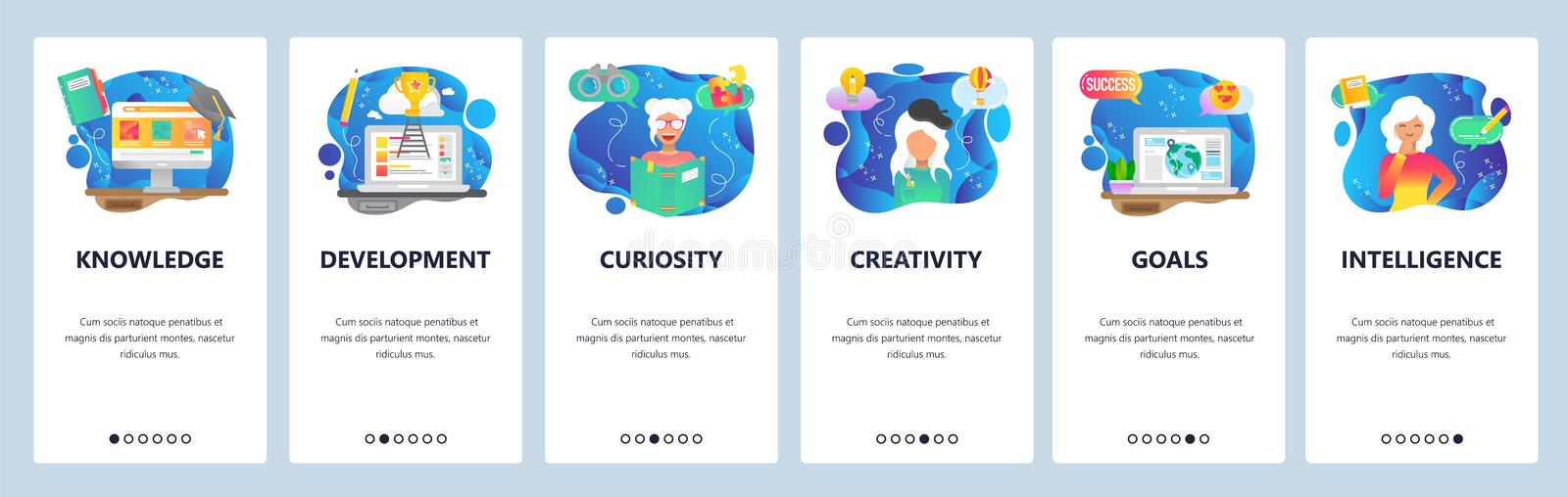 Mobile app onboarding screens. Curiosity and creativity, smart people, knowledge, online education. Menu vector banner vector illustration