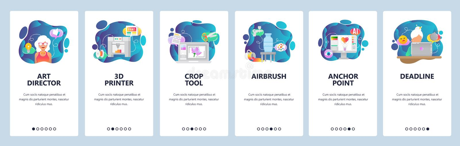 Mobile app onboarding screens. 3d printer, airbrush, painting, digital illustration, project deadline. Menu vector. Banner template for website and mobile royalty free illustration