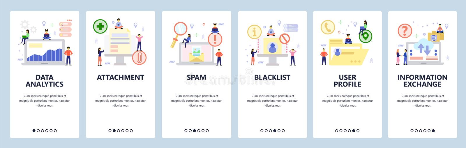 Mobile app onboarding screens. Data analytics and computer technology, email, spam, blacklist. Menu vector banner. Template for website and mobile development vector illustration