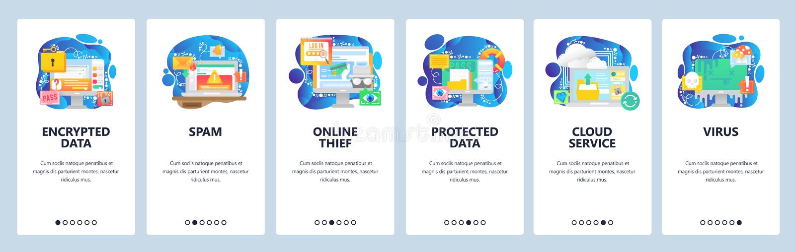 Mobile app onboarding screens. Data protection, secure access, spam and malware, hacker, virus, cloud storage. Vector. Mobile app onboarding screens. Data vector illustration