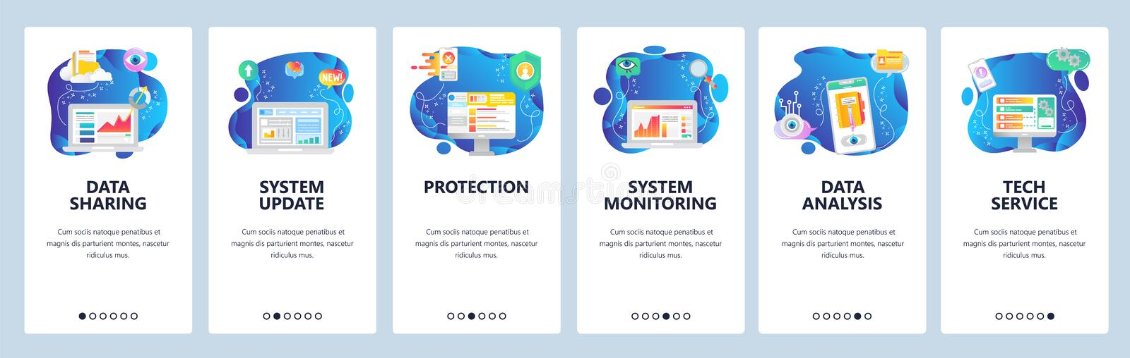 Mobile app onboarding screens. Data security storage and sharing, system monitoring, data analysis. Menu vector banner. Template for website and mobile stock illustration