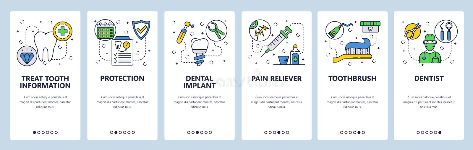 Mobile app onboarding screens. Dental care, tooth implant, dentist doctor and health insurance. Menu vector banner. Template for website and mobile development vector illustration