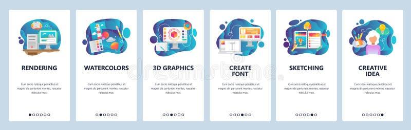 Mobile app onboarding screens. Digital art and watercolor painting, 3d rendering, sketching, font. Menu vector banner vector illustration