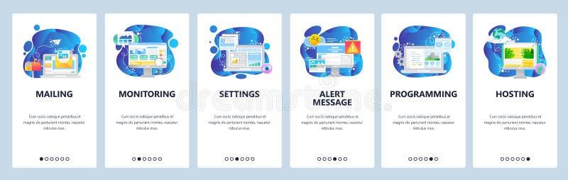 Mobile app onboarding screens. Digital marketing, alert message, mailing, hosting. Menu vector banner template for. Website and mobile development. Web site vector illustration