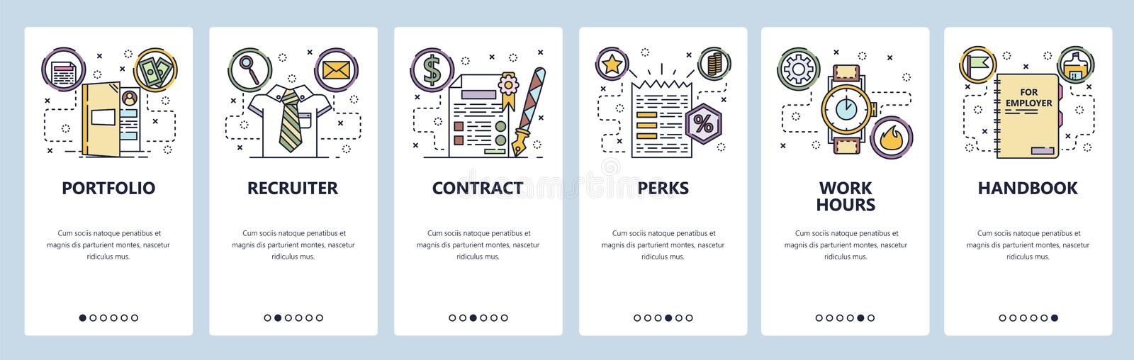 Mobile app onboarding screens. Employment, HR recruiter, cintract. job offer, working hours. Menu vector banner template royalty free illustration