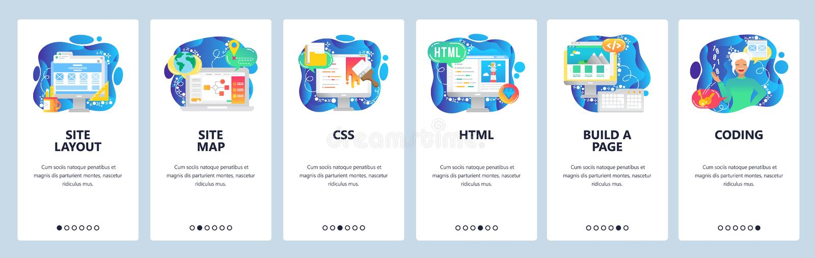 Mobile app onboarding screens. Female software engineer, html and css coding, build a site. Menu vector banner template. For website and mobile development. Web royalty free illustration