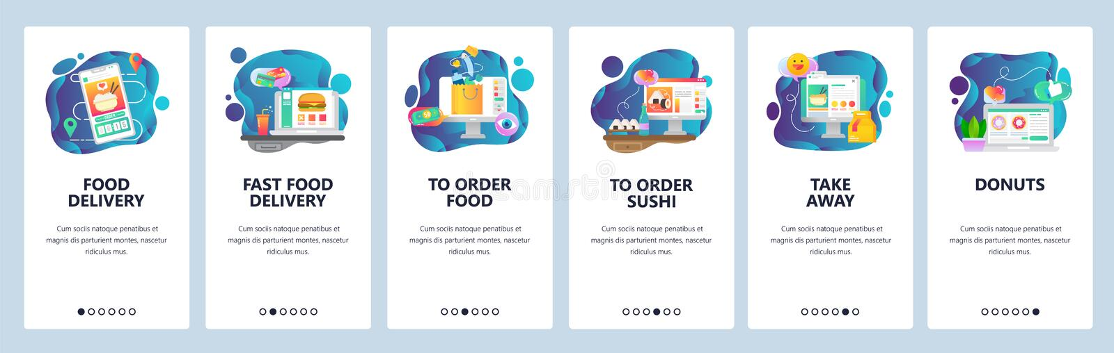 Flat Online Japanese Food Delivery Template Stock Vector